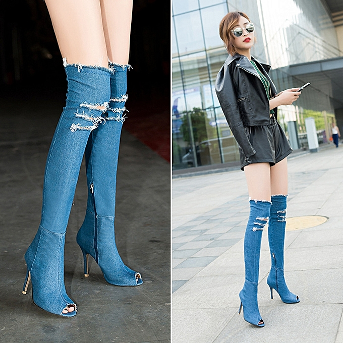 e12fa690a31 Women Denim Over Knee Boots Peep Thigh High Ladies Sexy Heel Stretch Shoes  LB 40