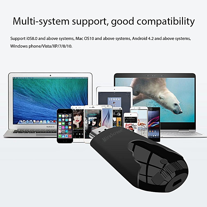 OEM Wireless Display Adapter, MiraScreen 1080P Wireless HDMI Dongle Support  Airplay(iOS) Miracast(Android) DLNA (Black)