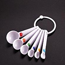 White Measuring Spoon Tea Scoop Teaspoon Baking Cooking Kitchen Tool 6PC-White
