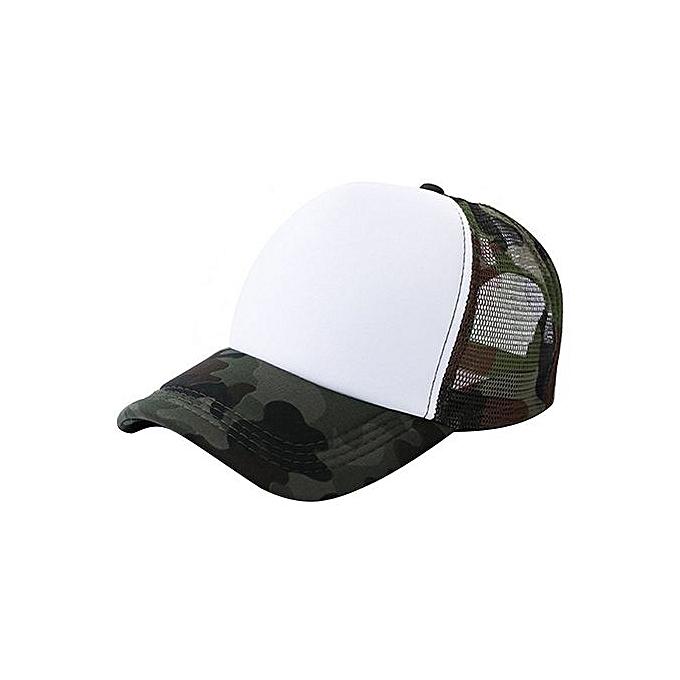 Zetenis Unisex Camouflage Mesh Baseball Cap Hat Blank Visor Hat Adjustable  -White 2bf72b704fc4