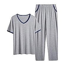 Summer Modal Soft Comfy Homewear Suits V Neck Short Sleeve Sleepwear Pajamas
