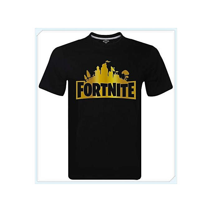 Fortnite Gold Cool Logo Battle Royale Xbox Gaming Gamer T-Shirt Men Tee Tops