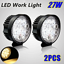 2pcs Yellow Light 27W 9LED Work Round Offroad Truck SUV ATV Fog Headlamp