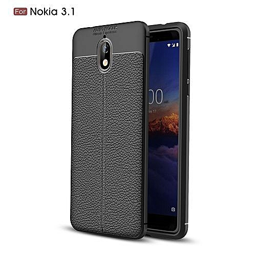 Auto Focus Nokia 3.1 Silicone Case, Litchi Pattern TPU Anti-knock Phone Back Cover For Nokia 3.1 - Black.