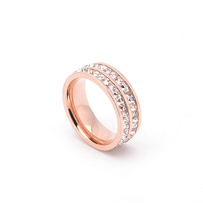 18e614b80af Cross-border European and American fashion hand ornaments rose gold double  row full diamond ring