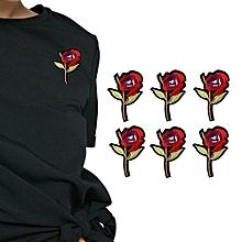6Pcs Rose Embroidery Badge Clothes Fabric Patch Applique Decor DIY