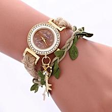 Women Ladies Casual Leaves Braided Rope Strap Quartz Wrist Watch BW