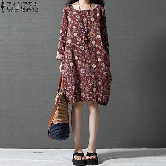 d1d0da994a5 ZANZEA Women Autumn Comfortable Loose Round Neck Long Sleeve Dress Fresh Lovely  Floral Cocoon Type Dress