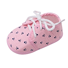 Africanmall store Newborn Baby Girls Shoes Letter Footprint Plaid Anti-Slip Footwear Crib Shoes-Pink