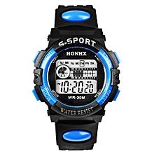 HONHX Africashop Watch  Waterproof Mens Boys Digital LED Quartz Alarm Date Sports Wrist Watch BU-Blue