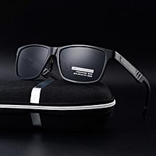 New men's polarized sunglasses aluminum and magnesium frame glasses-black