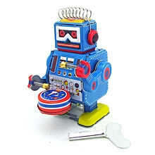 Classic Vintage Clockwork Wind Up Drum Playing Robot  Reminiscence Children Kids Tin Toys With Key-