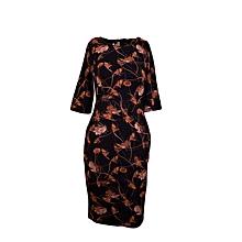 Classy Trendy Floral Stretchy Bodycon Dress + FREE Watch