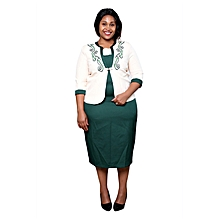 Green/Cream Ladies Turkey Office Wear Mid Dress