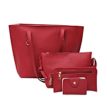 4Pcs Women's Litchi Pattern Leather Shoulder Bag+Crossbody Bag+Handbag+Wallet RD