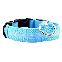 Safety Pet Collar For Lighted Up Nylon Solid LED Dog Collar Glow Necklace BU/M