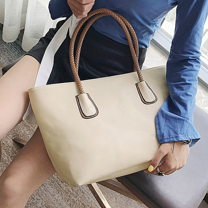 6cd0da1d9b New Women PU Leather Handbag Large Capacity Zipper Casual Tote Shoulder Bag  Black Beige