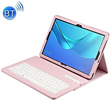 Detachable Bluetooth Keyboard + Litchi Texture Horizontal Flip Leather Case for Huawei MediaPad M5 Pro / M5 10.8 inch, with Holder(Pink)