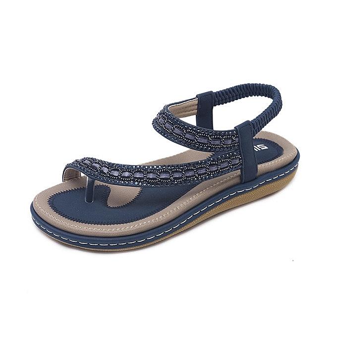 ce3e319a50da3 new Women Sandals New Ethnic Rhinestone Bohemia Large Size Comfort Flats  Beach Shoes-blue