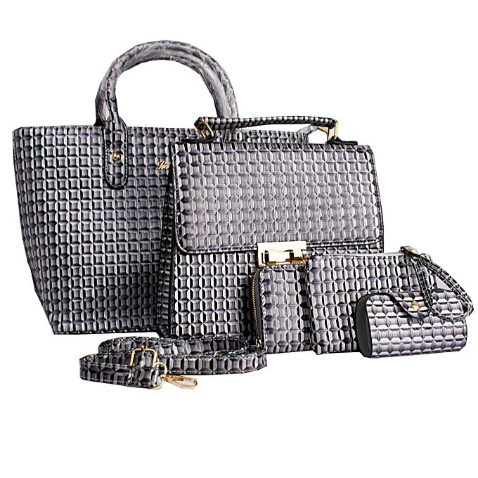 58e72711c8b Generic Elegant Ladies Designer Handbag Set 5-Piece Set – Grey ...