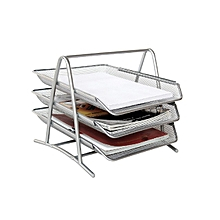 Desk Tray - Office Tray 3 tier Silver Scratch Resistance