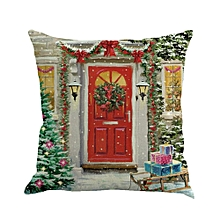 Christmas Printing Dyeing Sofa Bed Home Decor Pillow Cover Cushion Cover F