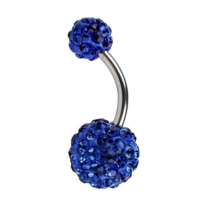 1pc Navel Belly Button Bar Ring Barbell Rhinestone Crystal Ball Body Piercing Sapphire Blue