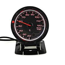 60mm Car Water Temperature Gauge With Sensor Black Face 20-120 Celsius Water Temp Meter -