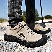 e55f5c93dc686 Men Casual Genuine Leather Shoes Hiking Boots Soft Beige