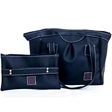 2 in 1 Ladies Faux Leather Black Shoulder Bag + Black Pouch