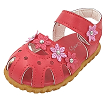 Children Fashion Causal Summer Flat Flower Soft Bottom Girls Sandal Shoes WR/21-Watermelon Red