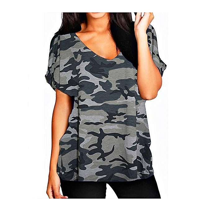 0b6b557b2b8 Plus Size Women Summer Cotton Tops Sexy V-Neck Loose T-Shirt Casual Baggy