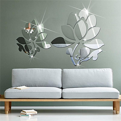 buy family shop lotus 3d mirror wall stickers for wall decoration