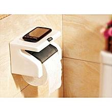 White Classy Tissue Holder With Phone Holder - White