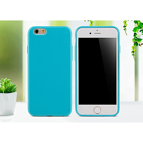 promo code 94965 8d32e for iphone 8 Plus case SIXEVE Candy Colors Silicone Case Cell Phone Back  Cover-Lake blue