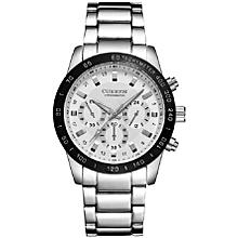Round Stainless Steel Brand Quartz Men's Watch - 8017-SWB