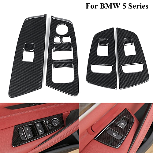 For BMW 5 Series G30 2018 Car-Styling ABS Chrome Interior Window Lift  Button Frame Cover Trim for Left hand driver (carbon fiber)