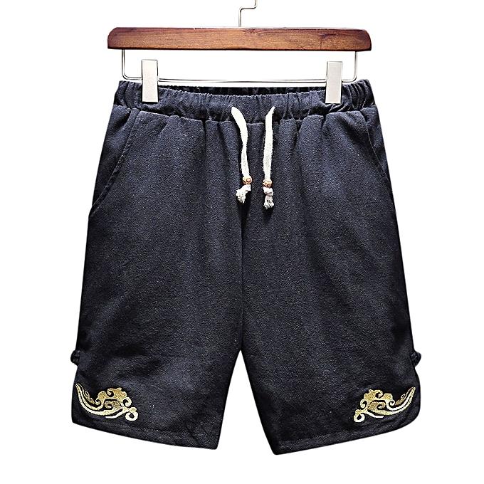 Men s Leisure Elastic Waistline Drawstring Shorts Summer Loose Solid Color  Shorts 9c99de6da434