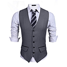 Men Sleeveless V-neck Single-breasted Dress Vest Slim Solid Business