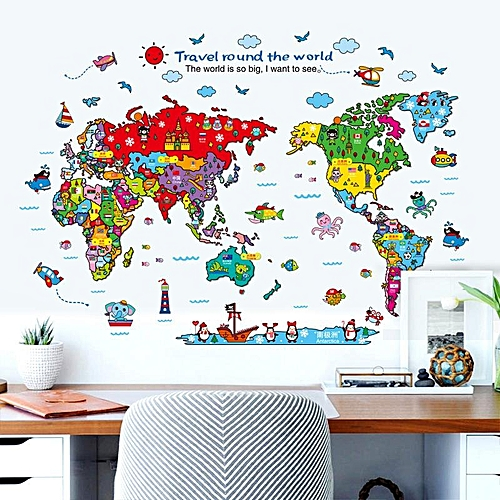 Generic Cartoon Animals World Map Wall Stickers for Kids Room ...