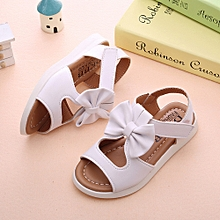 jiuhap store Summer Kids Children Sandals Fashion Bowknot Girls Flat Pricness Shoes -White