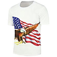 Eagle American Flag Printed Short Sleeve T-Shirt_WHITE