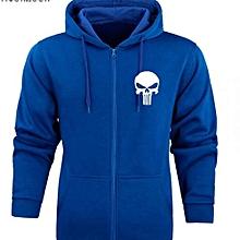 Royal Royal Blue Long Sleeved Unisex  Zip Hoodie