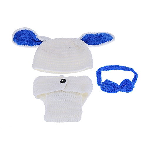 ee89f398b19 Generic Baby Infant Rabbit Bunny Hat Underpants Nappy Hare Crochet Knitting  Costume Soft Adorable Clothes Photo Photography Props for Unisex Newborns