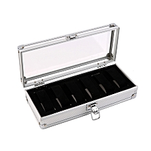 6 Grid Slots Jewelry Watches Display Storage Box Case Aluminium Watch Box