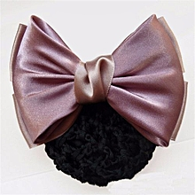 New Bow Barrette Women Lady Hair Clip Cover Bowknot Bun Snood Hair Accessories Light Pink