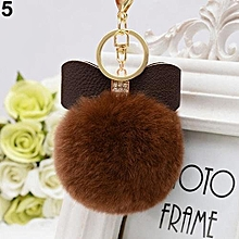 Fashion Faux Rabbit Fur Ball Charm Bag Phone Car Pendant Key Chain (Coffee)