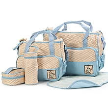 Elegant new design 5 in 1 Baby Diaper Bag Nappy Changing Pad waterproof Travel Mummy Bag-Light blue