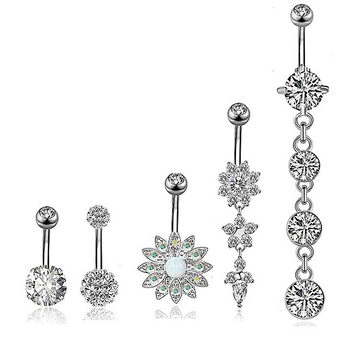 4 5pcs Set Fashion Luxury Zircon Flower Petal Navel Piercing Bell Button Rings Navel Body Belly Piercing Body Jewelry For Women
