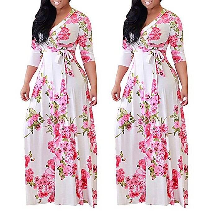 c20a38f9066 Plus Size Floral Printed Party Maxi Dress Ankara Gown Style-Pink